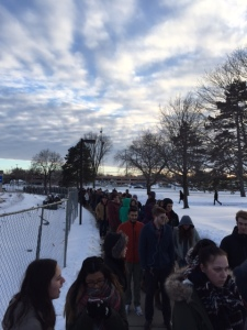 Lining Up for Sander Rally at MSU